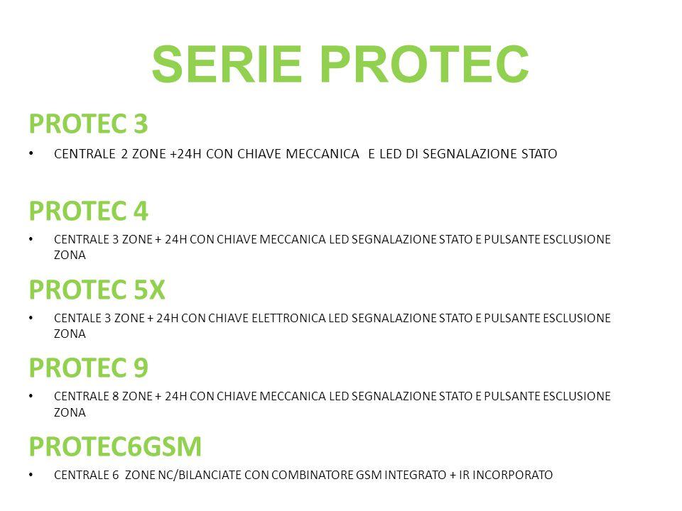 SERIE PROTEC PROTEC 3 CENTRALE 2 ZONE +24H CON CHIAVE MECCANICA E LED DI SEGNALAZIONE STATO PROTEC 4 CENTRALE 3 ZONE + 24H CON CHIAVE MECCANICA LED SEGNALAZIONE STATO E PULSANTE ESCLUSIONE ZONA PROTEC 5X CENTALE 3 ZONE + 24H CON CHIAVE ELETTRONICA LED SEGNALAZIONE STATO E PULSANTE ESCLUSIONE ZONA PROTEC 9 CENTRALE 8 ZONE + 24H CON CHIAVE MECCANICA LED SEGNALAZIONE STATO E PULSANTE ESCLUSIONE ZONA PROTEC6GSM CENTRALE 6 ZONE NC/BILANCIATE CON COMBINATORE GSM INTEGRATO + IR INCORPORATO