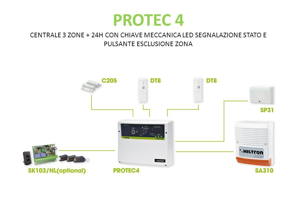 PROTEC 5X CENTALE 3 ZONE + 24H CON CHIAVE ELETTRONICA LED SEGNALAZIONE STATO E PULSANTE ESCLUSIONE ZONA