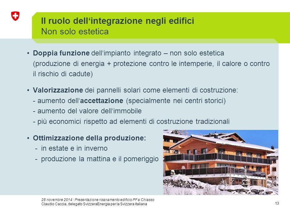 13 28 novembre 2014 : Presentazione risanamento edificio PF a Chiasso Claudio Caccia, delegato SvizzeraEnergia per la Svizzera italiana Il ruolo dell'