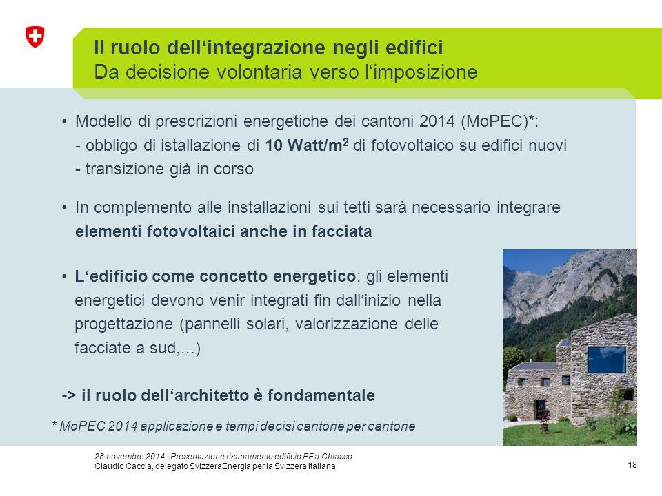 18 28 novembre 2014 : Presentazione risanamento edificio PF a Chiasso Claudio Caccia, delegato SvizzeraEnergia per la Svizzera italiana Il ruolo dell'