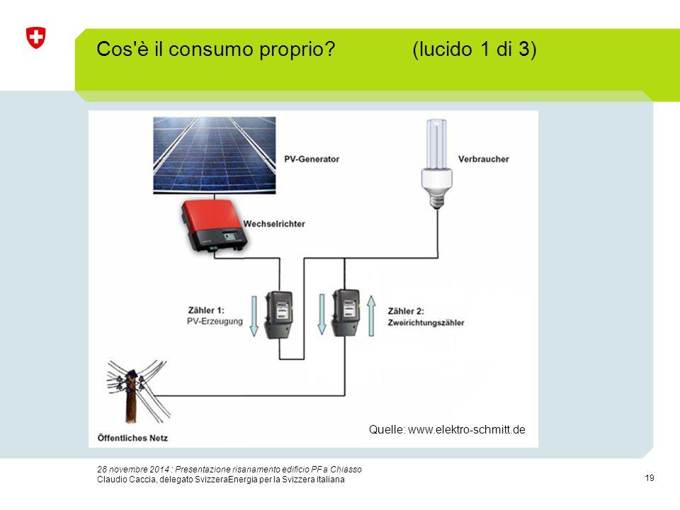 19 28 novembre 2014 : Presentazione risanamento edificio PF a Chiasso Claudio Caccia, delegato SvizzeraEnergia per la Svizzera italiana Cos'è il consu