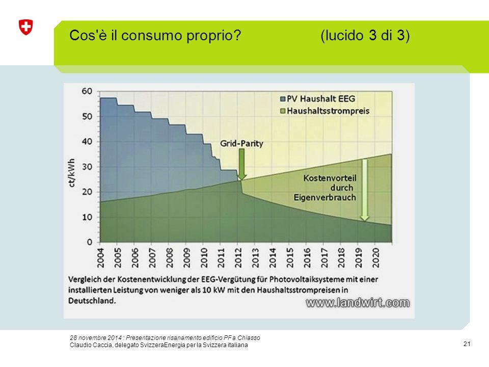 21 28 novembre 2014 : Presentazione risanamento edificio PF a Chiasso Claudio Caccia, delegato SvizzeraEnergia per la Svizzera italiana Cos è il consumo proprio.