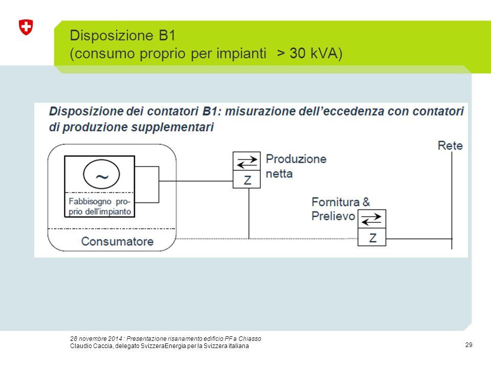 29 28 novembre 2014 : Presentazione risanamento edificio PF a Chiasso Claudio Caccia, delegato SvizzeraEnergia per la Svizzera italiana Disposizione B