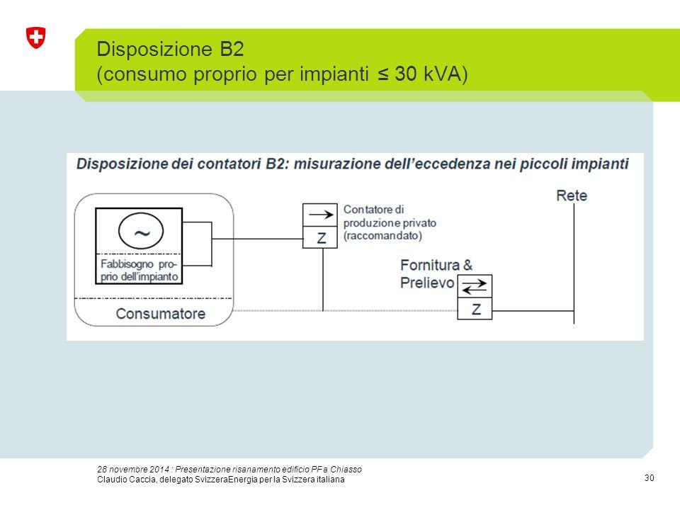 30 28 novembre 2014 : Presentazione risanamento edificio PF a Chiasso Claudio Caccia, delegato SvizzeraEnergia per la Svizzera italiana Disposizione B2 (consumo proprio per impianti ≤ 30 kVA)