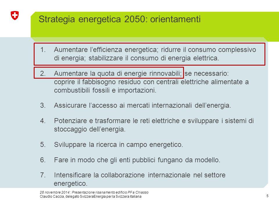 5 28 novembre 2014 : Presentazione risanamento edificio PF a Chiasso Claudio Caccia, delegato SvizzeraEnergia per la Svizzera italiana Strategia energ