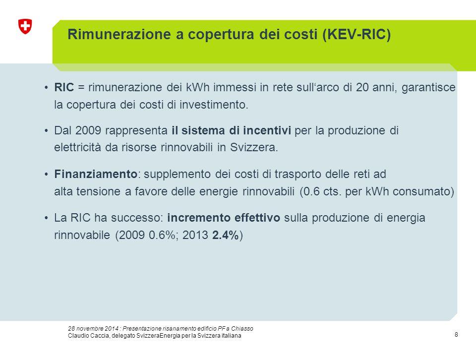 8 28 novembre 2014 : Presentazione risanamento edificio PF a Chiasso Claudio Caccia, delegato SvizzeraEnergia per la Svizzera italiana Rimunerazione a copertura dei costi (KEV-RIC) RIC = rimunerazione dei kWh immessi in rete sull'arco di 20 anni, garantisce la copertura dei costi di investimento.