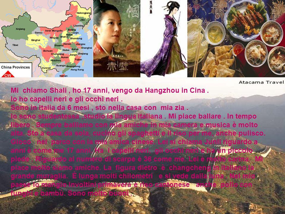 Mi chiamo Shali, ho 17 anni, vengo da Hangzhou in Cina. Io ho capelli neri e gli occhi neri. Sono in Italia da 6 mesi, sto nella casa con mia zia. Io