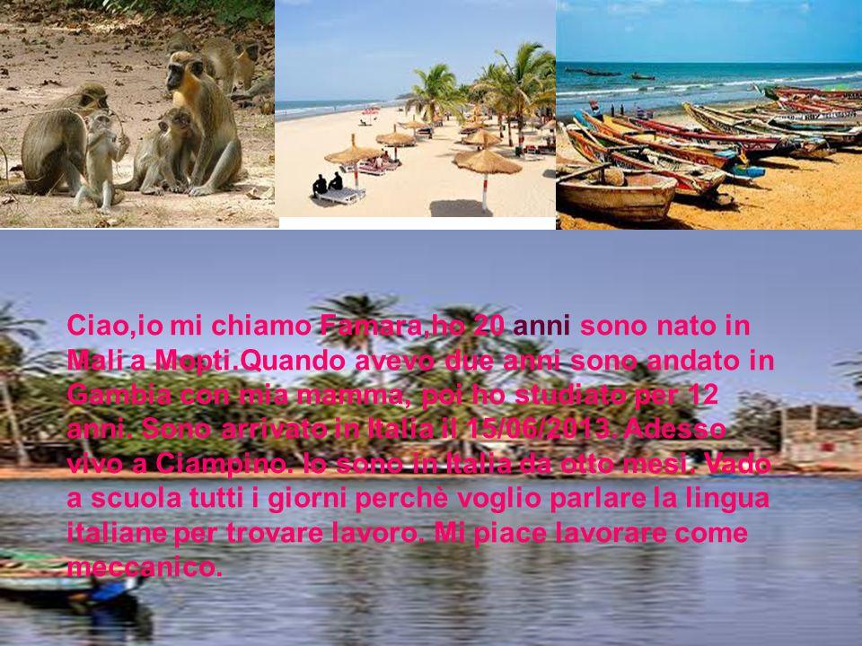 Ciao,io mi chiamo Famara,ho 20 anni sono nato in Mali a Mopti.Quando avevo due anni sono andato in Gambia con mia mamma, poi ho studiato per 12 anni.