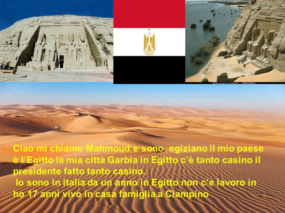 . Ciao mi chiamo Mahmoud e sono egiziano il mio paese è l'Egitto la mia città Garbia in Egitto c'è tanto casino il presidente fatto tanto casino. Io s