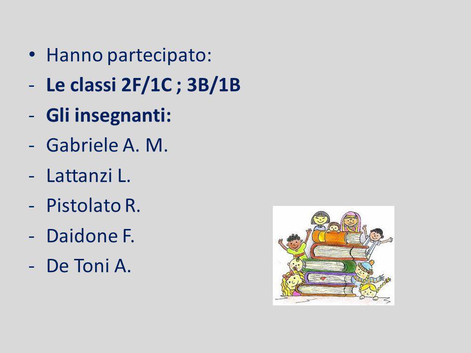 Hanno partecipato: -Le classi 2F/1C ; 3B/1B -Gli insegnanti: -Gabriele A.