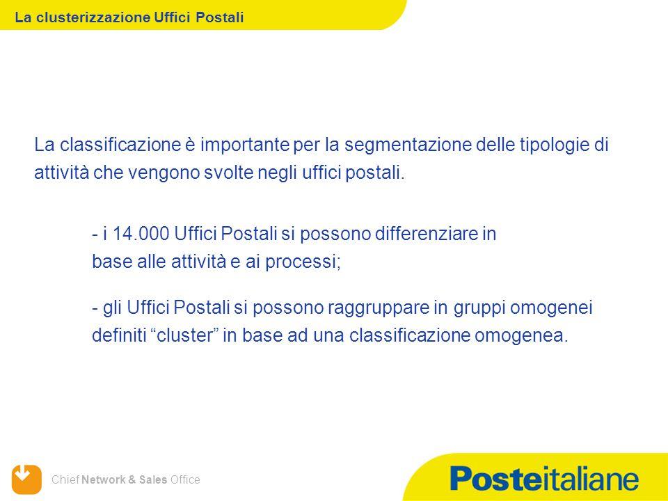 Chief Network & Sales Office La clusterizzazione Uffici Postali - i 14.000 Uffici Postali si possono differenziare in base alle attività e ai processi; - gli Uffici Postali si possono raggruppare in gruppi omogenei definiti cluster in base ad una classificazione omogenea.