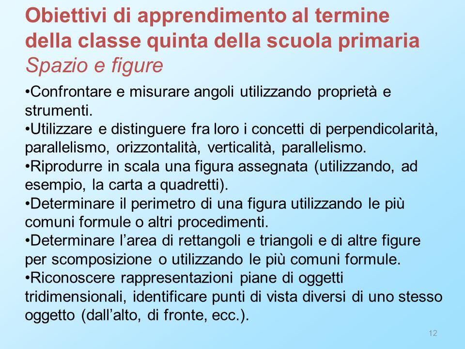 12 Confrontare e misurare angoli utilizzando proprietà e strumenti. Utilizzare e distinguere fra loro i concetti di perpendicolarità, parallelismo, or