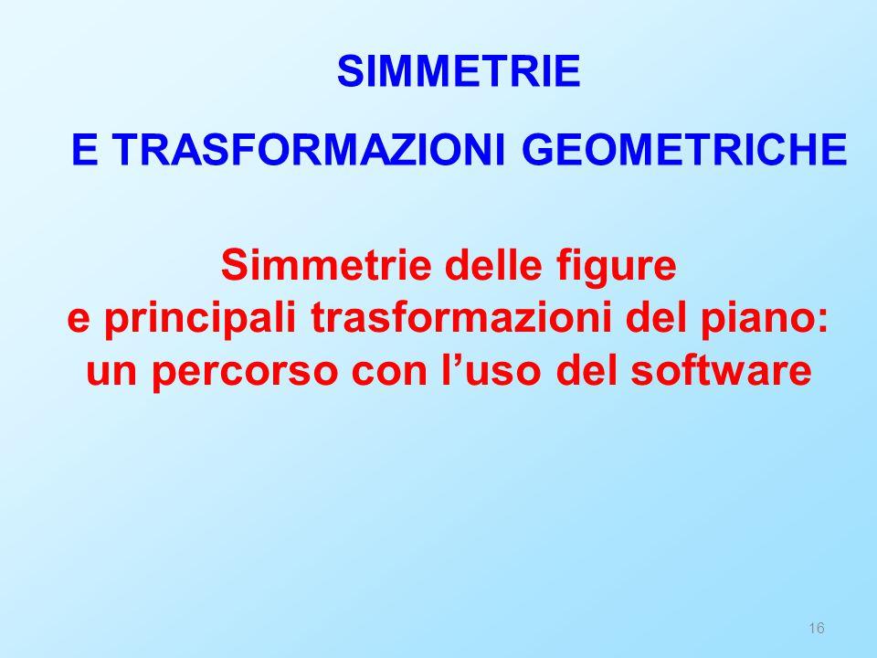 16 Simmetrie delle figure e principali trasformazioni del piano: un percorso con l'uso del software SIMMETRIE E TRASFORMAZIONI GEOMETRICHE