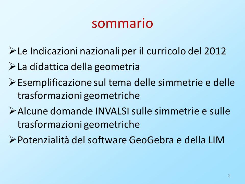 2 sommario  Le Indicazioni nazionali per il curricolo del 2012  La didattica della geometria  Esemplificazione sul tema delle simmetrie e delle tra