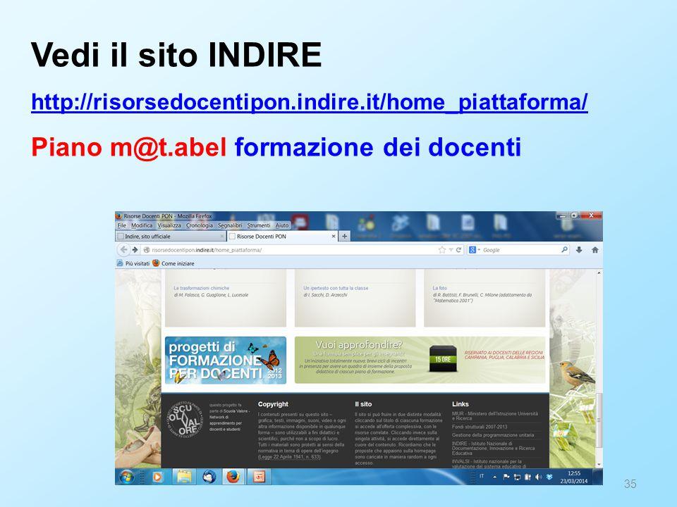 35 Vedi il sito INDIRE http://risorsedocentipon.indire.it/home_piattaforma/ Piano m@t.abel formazione dei docenti