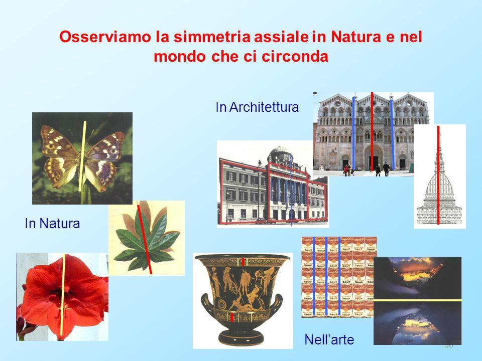 38 Osserviamo la simmetria assiale in Natura e nel mondo che ci circonda In Natura In Architettura N ell 'a rt e