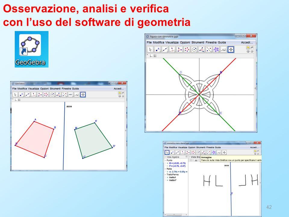 42 Osservazione, analisi e verifica con l'uso del software di geometria
