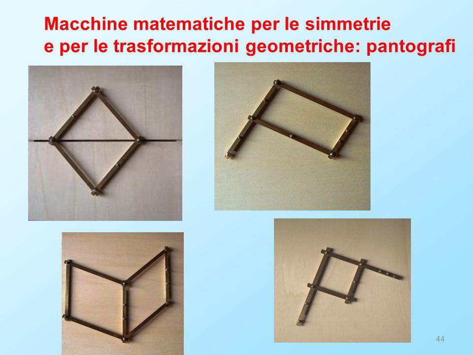 44 Macchine matematiche per le simmetrie e per le trasformazioni geometriche: pantografi