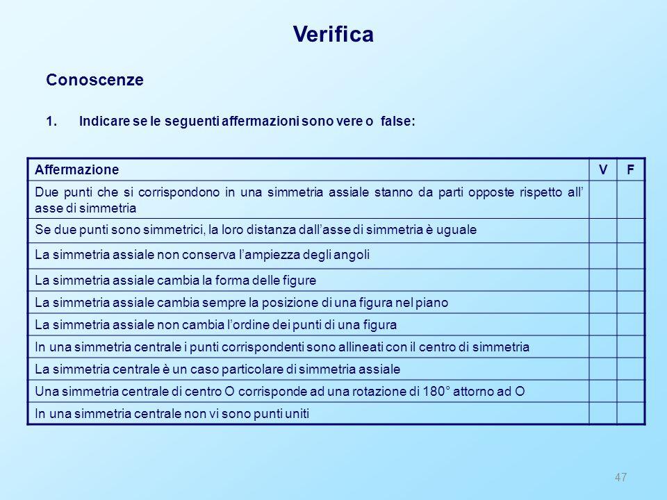 47 Verifica Conoscenze 1.Indicare se le seguenti affermazioni sono vere o false: AffermazioneVF Due punti che si corrispondono in una simmetria assial