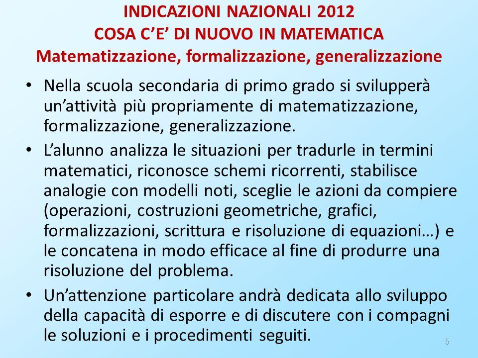 5 INDICAZIONI NAZIONALI 2012 COSA C'E' DI NUOVO IN MATEMATICA Matematizzazione, formalizzazione, generalizzazione Nella scuola secondaria di primo grado si svilupperà un'attività più propriamente di matematizzazione, formalizzazione, generalizzazione.