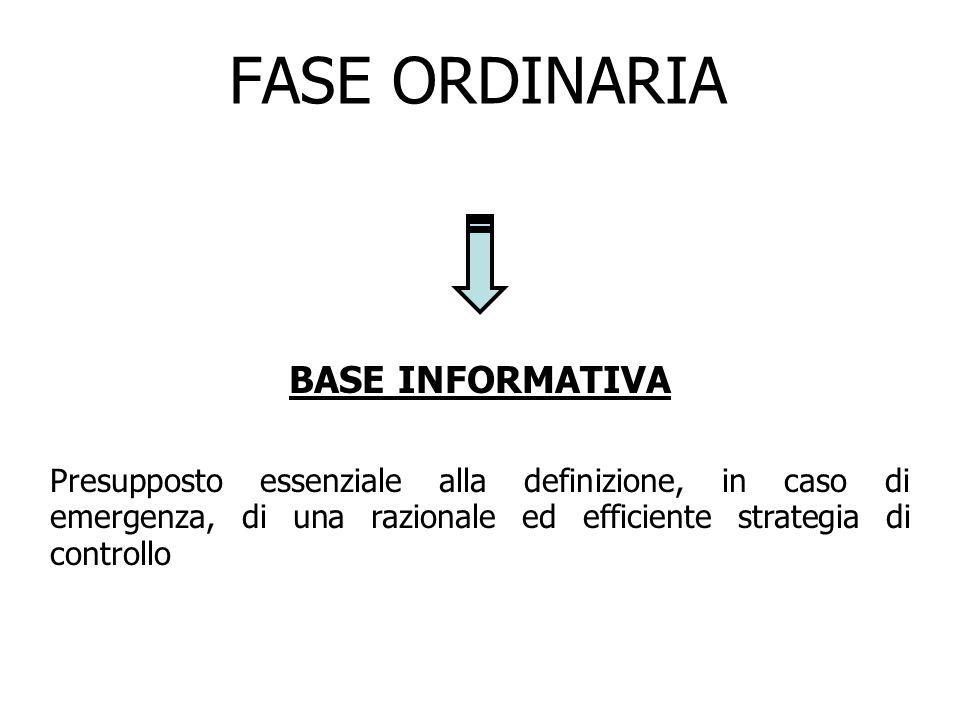 FASE ORDINARIA BASE INFORMATIVA Presupposto essenziale alla definizione, in caso di emergenza, di una razionale ed efficiente strategia di controllo
