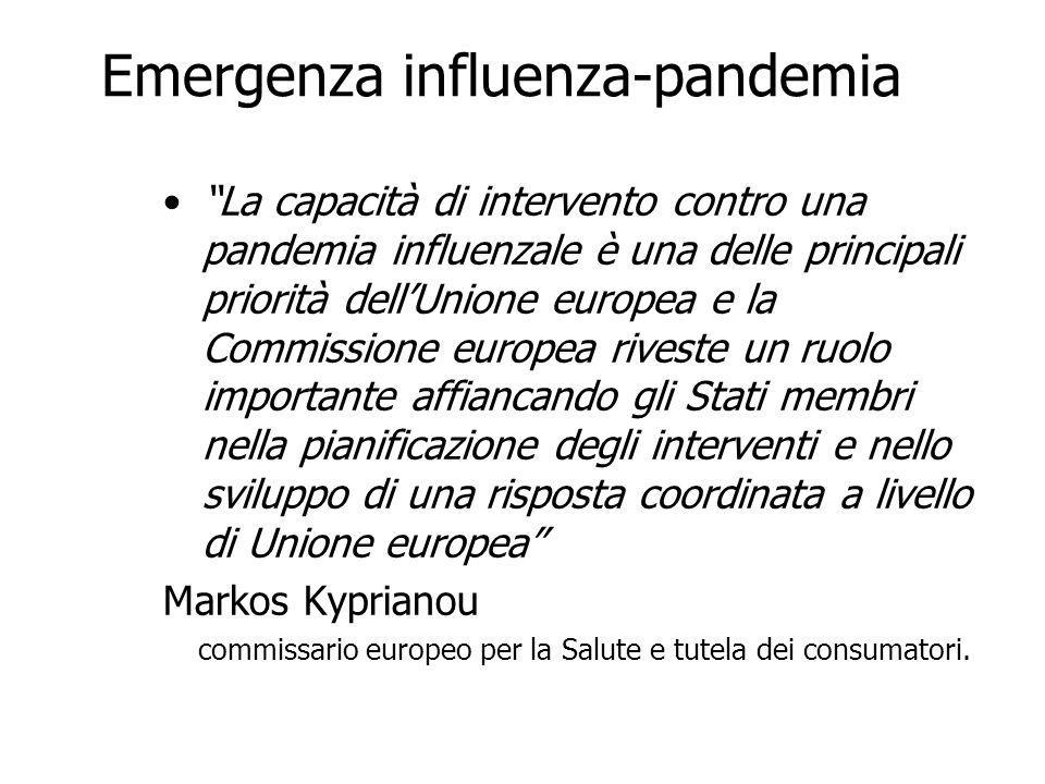 """Emergenza influenza-pandemia """"La capacità di intervento contro una pandemia influenzale è una delle principali priorità dell'Unione europea e la Commi"""