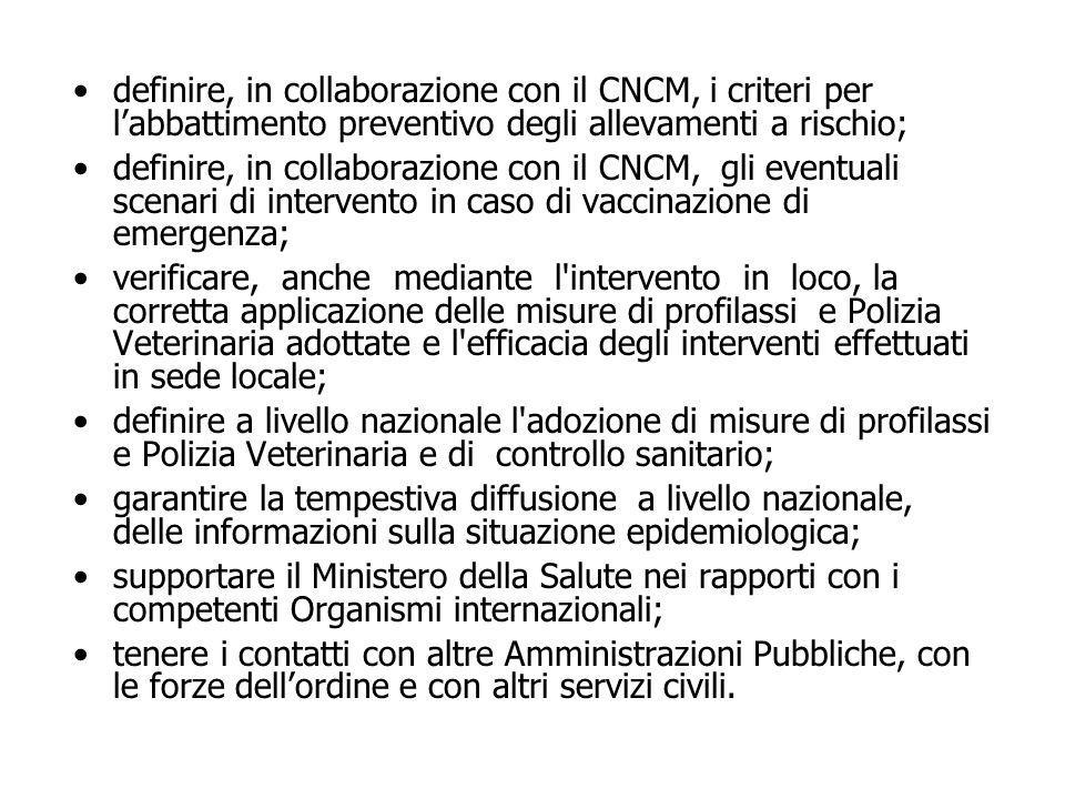 definire, in collaborazione con il CNCM, i criteri per l'abbattimento preventivo degli allevamenti a rischio; definire, in collaborazione con il CNCM,