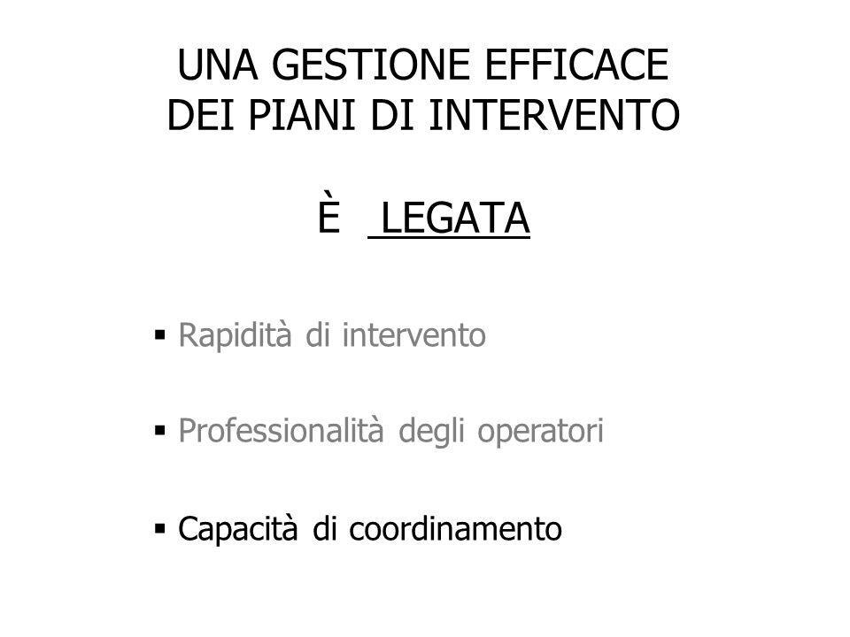 UNA GESTIONE EFFICACE DEI PIANI DI INTERVENTO È LEGATA  Rapidità di intervento  Professionalità degli operatori  Capacità di coordinamento