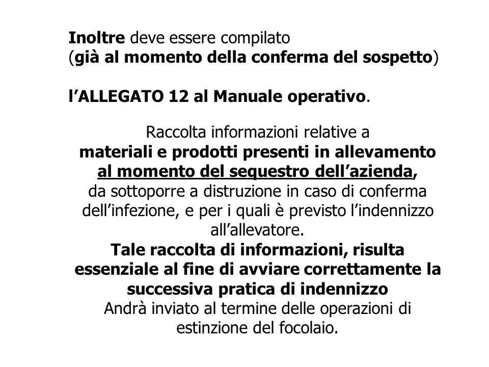 Inoltre deve essere compilato (già al momento della conferma del sospetto) l'ALLEGATO 12 al Manuale operativo. Raccolta informazioni relative a materi