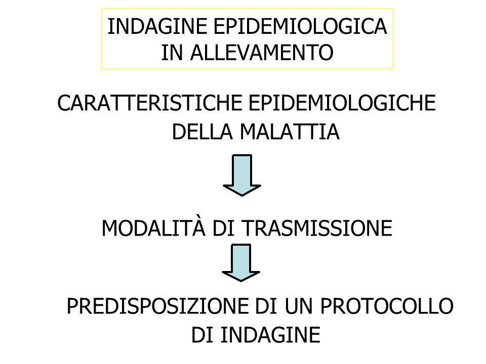 CARATTERISTICHE EPIDEMIOLOGICHE DELLA MALATTIA MODALITÀ DI TRASMISSIONE PREDISPOSIZIONE DI UN PROTOCOLLO DI INDAGINE INDAGINE EPIDEMIOLOGICA IN ALLEVA