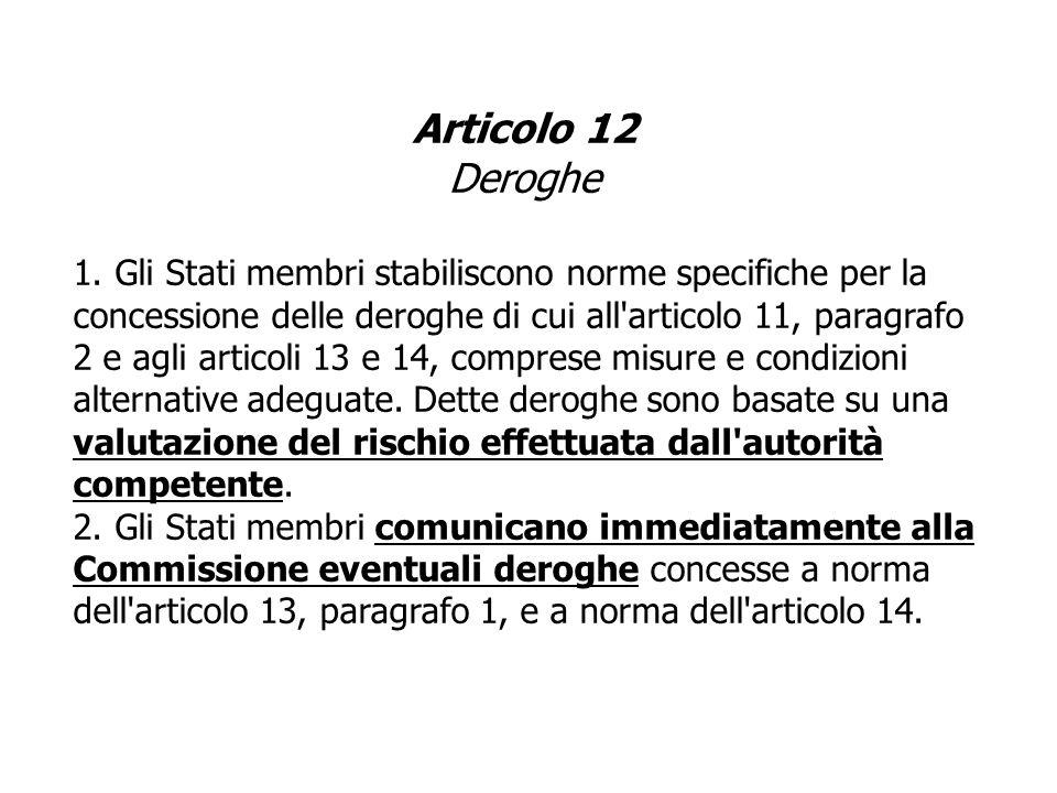 Articolo 12 Deroghe 1.Gli Stati membri stabiliscono norme specifiche per la concessione delle deroghe di cui all'articolo 11, paragrafo 2 e agli artic