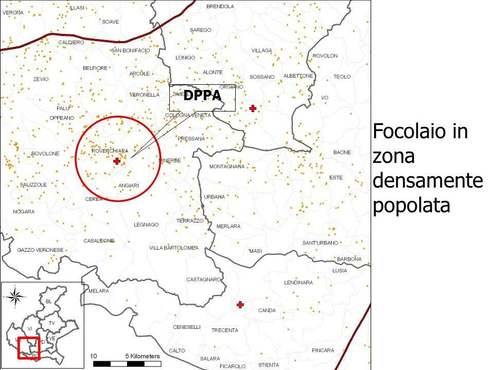 Focolaio in zona densamente popolata DPPA