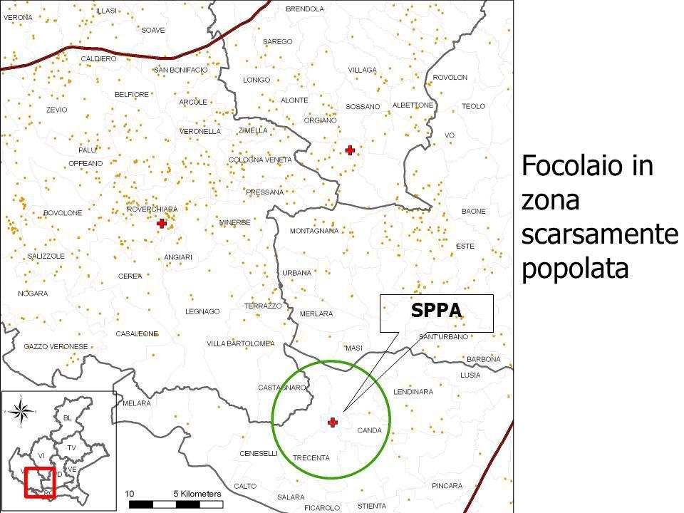 Focolaio in zona scarsamente popolata SPPA