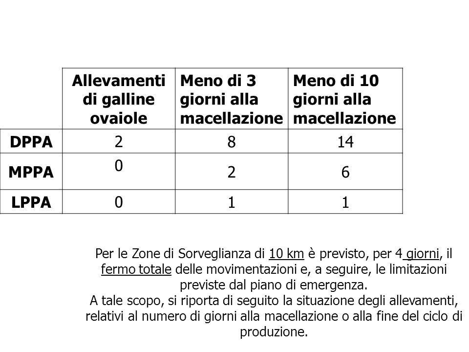 Allevamenti di galline ovaiole Meno di 3 giorni alla macellazione Meno di 10 giorni alla macellazione DPPA 2 814 MPPA 0 26 LPPA 0 11 Per le Zone di So