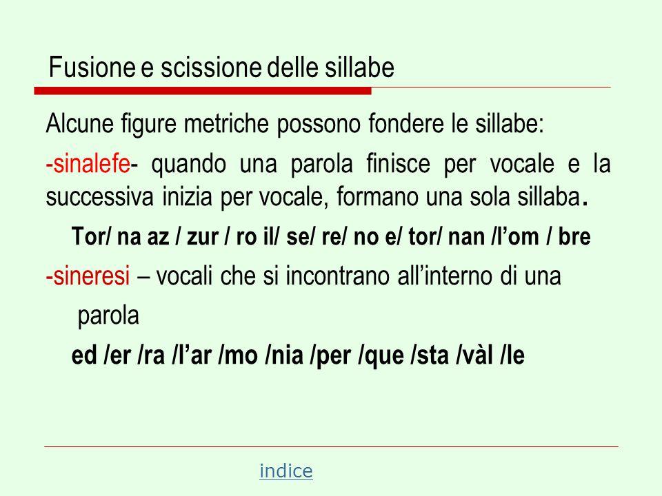 indice Fusione e scissione delle sillabe Alcune figure metriche possono scindere le sillabe: -dialefe- quando la prima vocale è accentata davanti ad altra vocale, le sillabe restano separate.