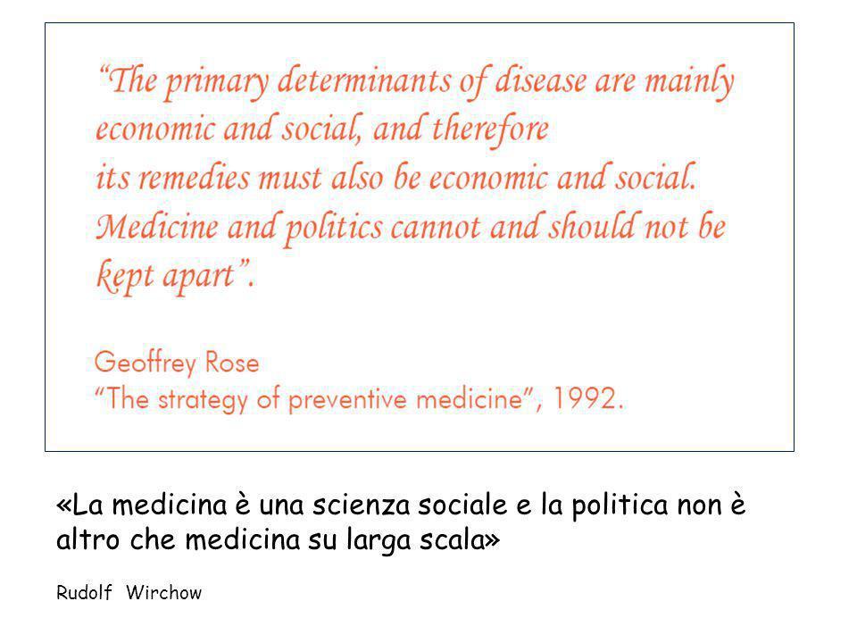 «La medicina è una scienza sociale e la politica non è altro che medicina su larga scala» Rudolf Wirchow