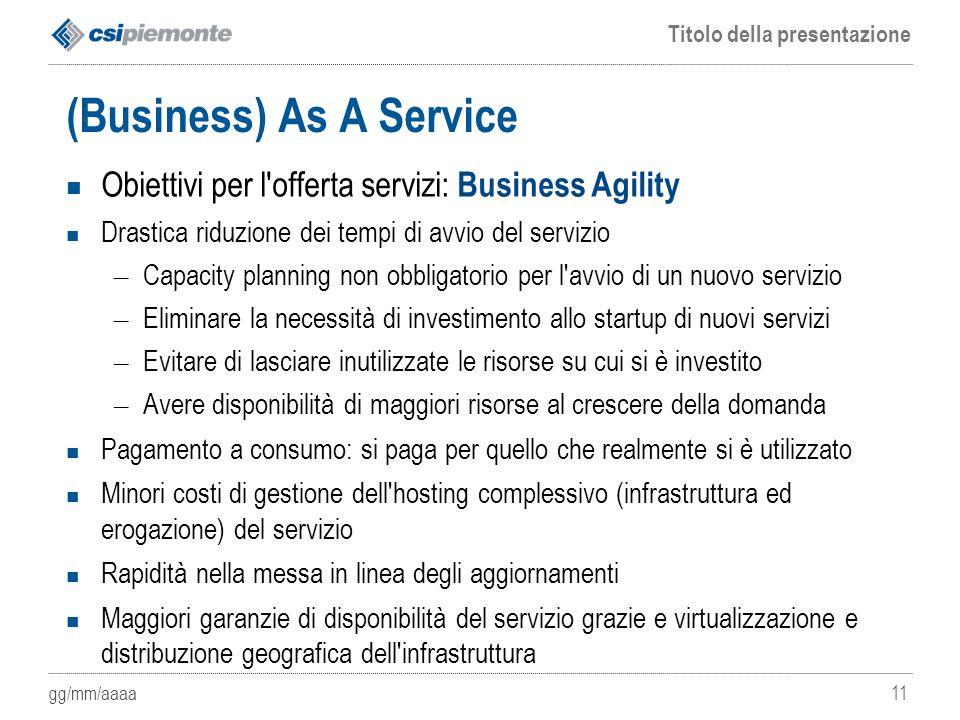 gg/mm/aaaa Titolo della presentazione 11 (Business) As A Service Obiettivi per l'offerta servizi: Business Agility Drastica riduzione dei tempi di avv