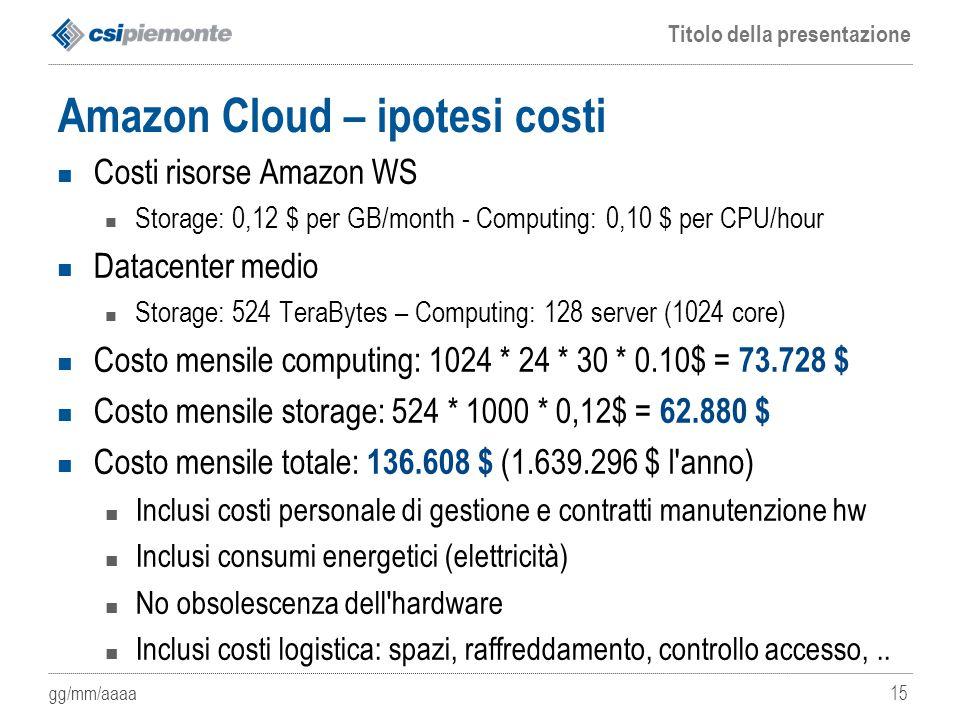 gg/mm/aaaa Titolo della presentazione 15 Amazon Cloud – ipotesi costi Costi risorse Amazon WS Storage: 0,12 $ per GB/month - Computing: 0,10 $ per CPU