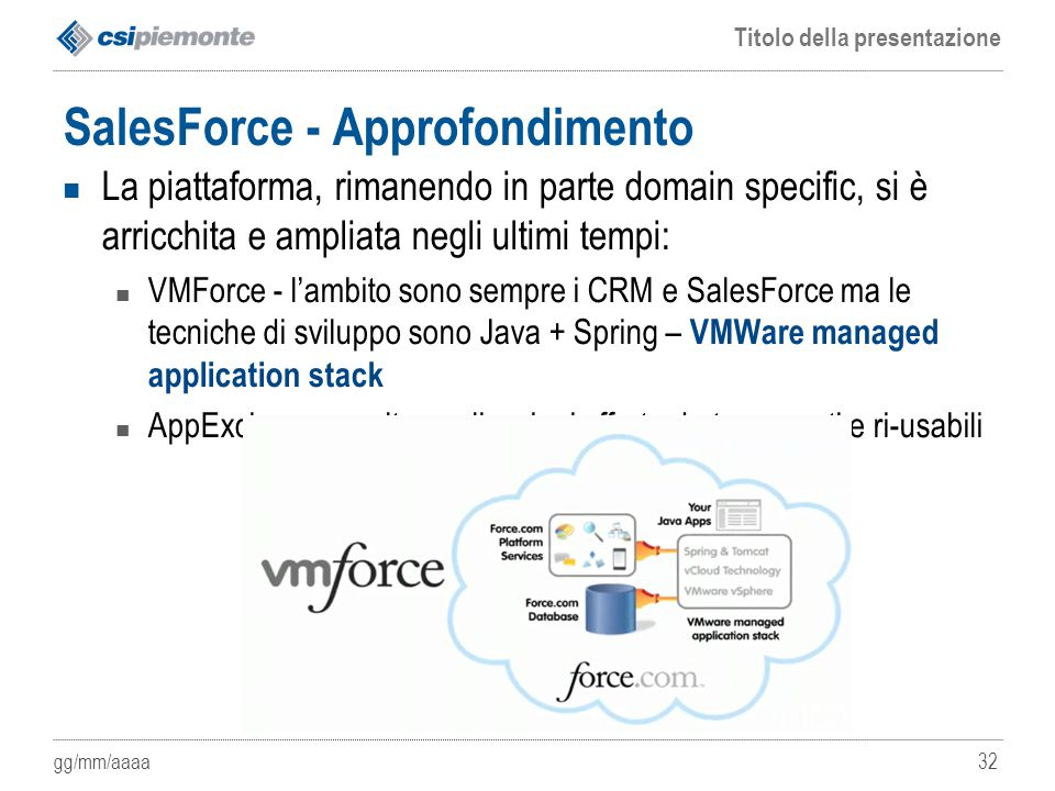gg/mm/aaaa Titolo della presentazione 32 SalesForce - Approfondimento La piattaforma, rimanendo in parte domain specific, si è arricchita e ampliata n