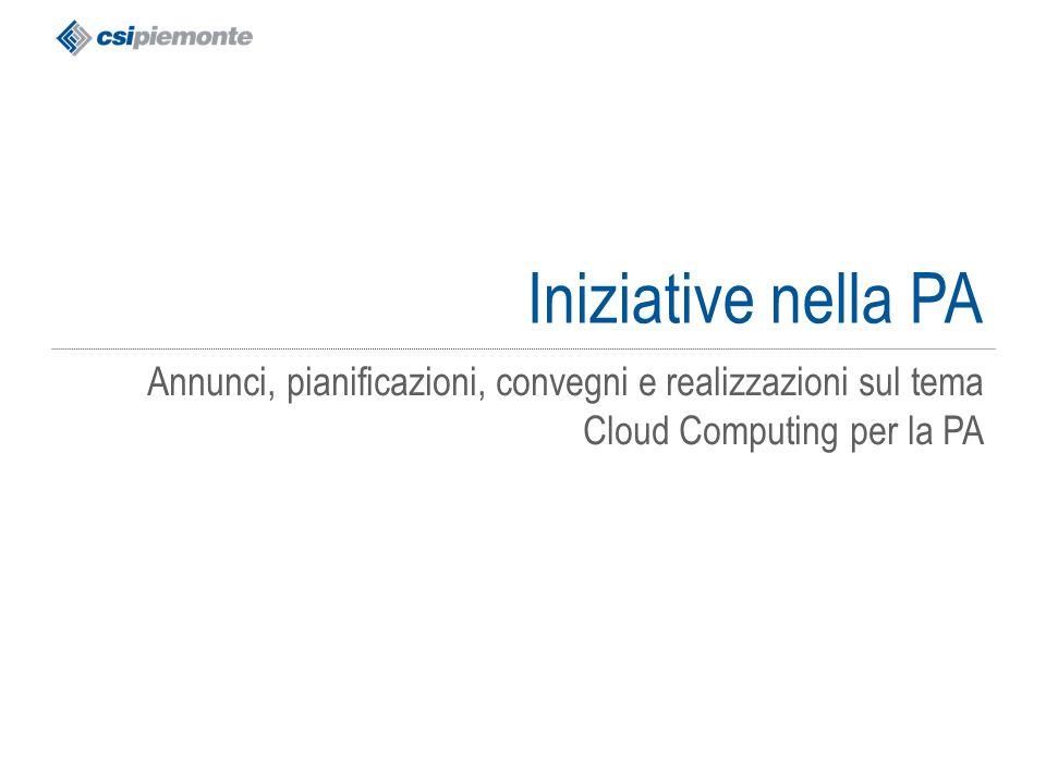 gg/mm/aaaa Titolo della presentazione 42 Iniziative nella PA Annunci, pianificazioni, convegni e realizzazioni sul tema Cloud Computing per la PA