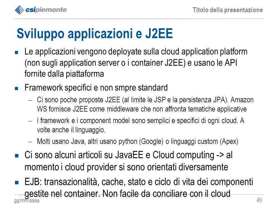 gg/mm/aaaa Titolo della presentazione 49 Sviluppo applicazioni e J2EE Le applicazioni vengono deployate sulla cloud application platform (non sugli ap