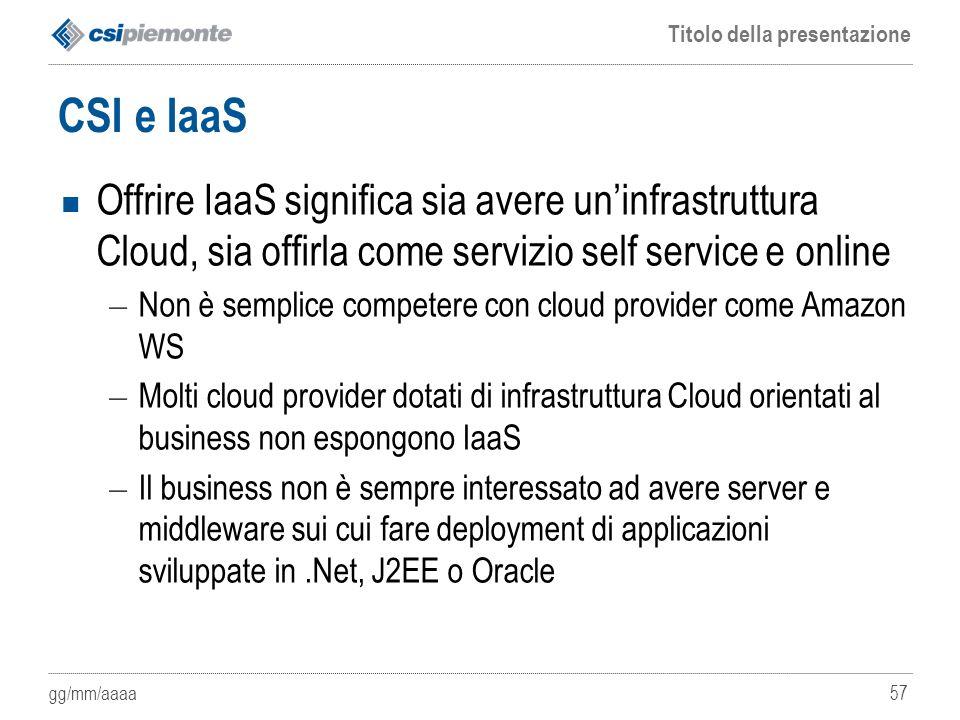 gg/mm/aaaa Titolo della presentazione 57 CSI e IaaS Offrire IaaS significa sia avere un'infrastruttura Cloud, sia offirla come servizio self service e