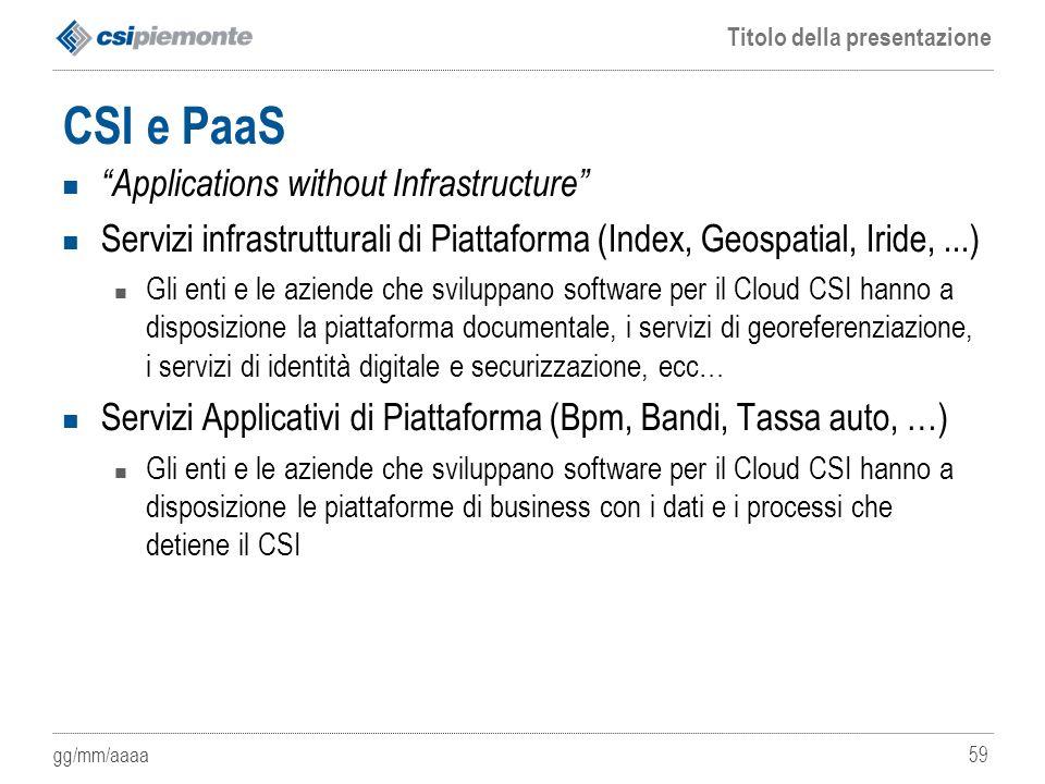 """gg/mm/aaaa Titolo della presentazione 59 CSI e PaaS """"Applications without Infrastructure"""" Servizi infrastrutturali di Piattaforma (Index, Geospatial,"""