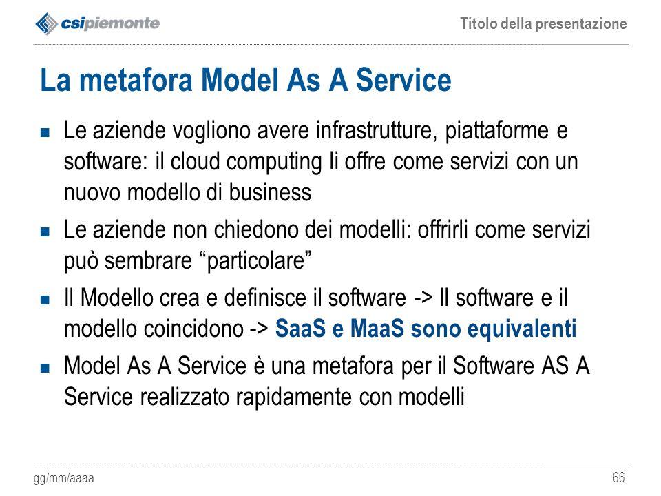 gg/mm/aaaa Titolo della presentazione 66 La metafora Model As A Service Le aziende vogliono avere infrastrutture, piattaforme e software: il cloud com