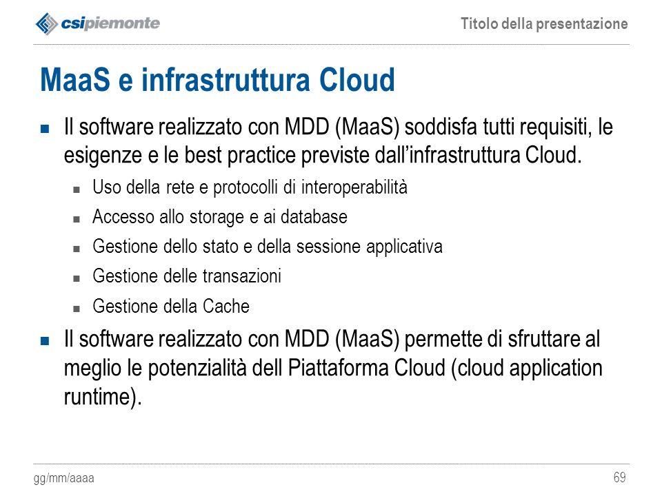 gg/mm/aaaa Titolo della presentazione 69 MaaS e infrastruttura Cloud Il software realizzato con MDD (MaaS) soddisfa tutti requisiti, le esigenze e le