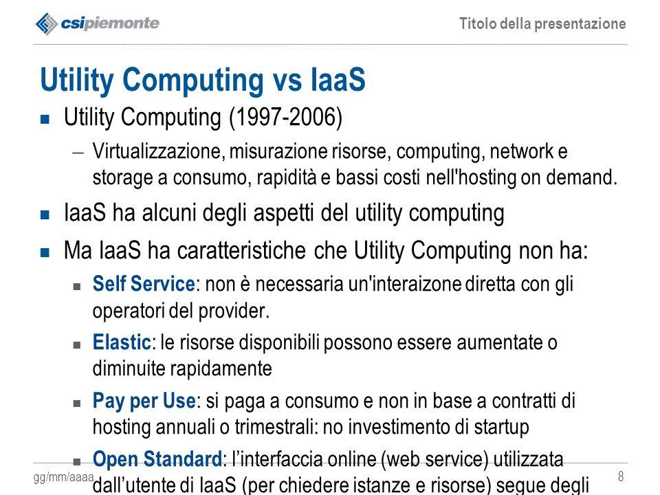 gg/mm/aaaa Titolo della presentazione 8 Utility Computing vs IaaS Utility Computing (1997-2006) – Virtualizzazione, misurazione risorse, computing, ne