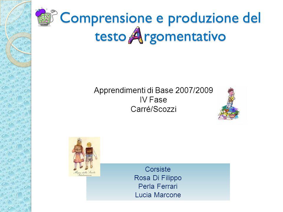Comprensione e produzione del testo rgomentativo Apprendimenti di Base 2007/2009 IV Fase Carré/Scozzi Corsiste Rosa Di Filippo Perla Ferrari Lucia Mar