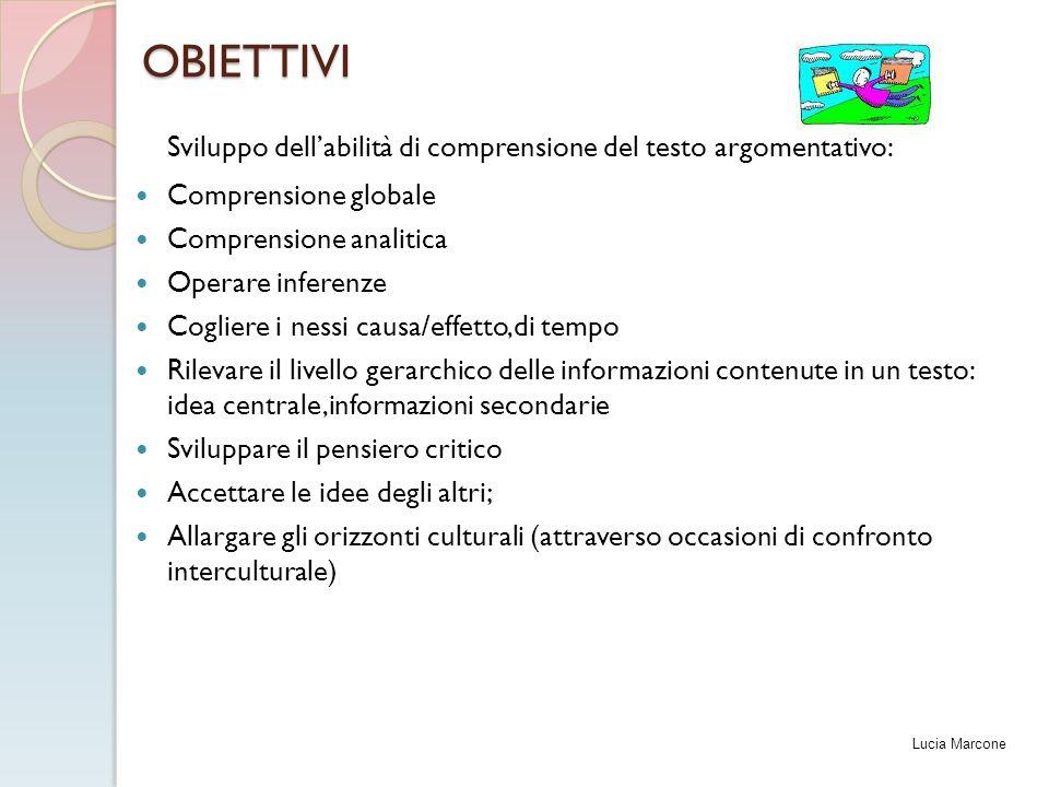 OBIETTIVI Sviluppo dell'abilità di comprensione del testo argomentativo: Comprensione globale Comprensione analitica Operare inferenze Cogliere i ness