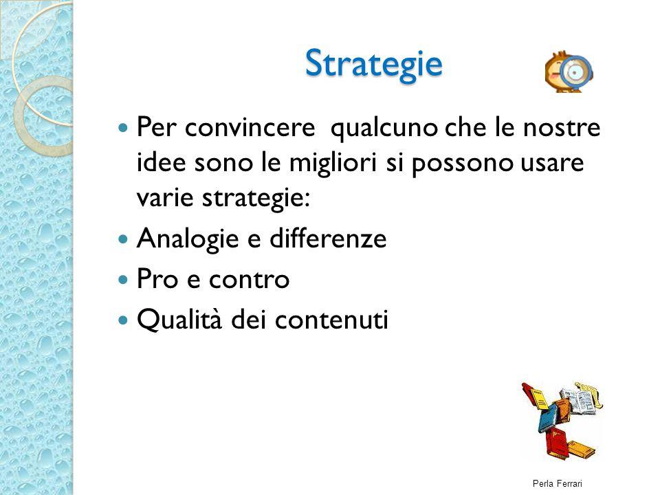Strategie Per convincere qualcuno che le nostre idee sono le migliori si possono usare varie strategie: Analogie e differenze Pro e contro Qualità dei