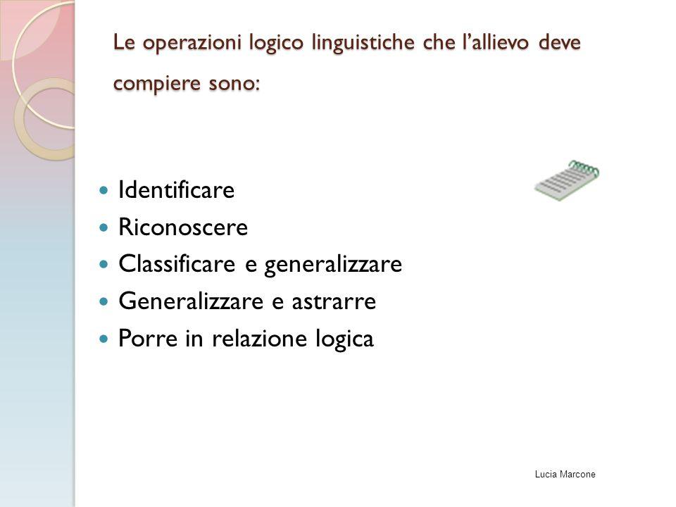 Le operazioni logico linguistiche che l'allievo deve compiere sono: Identificare Riconoscere Classificare e generalizzare Generalizzare e astrarre Por